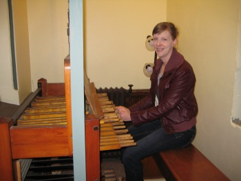 Kim at carillon console at Central United Methodist Church, Lansing, MI